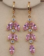 18K Gold Filled - 1.9'' Cat eye Pink Quartz Topaz String Teardrop Party Earrings