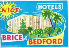 OLD LUGGAGE LABEL  HOTEL BRICE & BEDFORD , NICE, NIZZA, FRANCIA, FRANCE