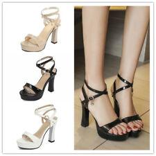 Summer Ladies Block High Heel Cross Strap Buckle Slingback Sandals Shoes Party