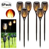 6PACK Solar LED Torch Garden Yard Flame Flickering Lamp Walkway Light Waterproof