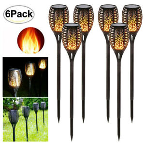 6PACK Solar LED Torch Garden Yard Flame Flickering Lamp Walkway Light Waterproof