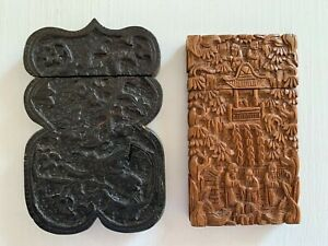 2 Antique Chinese Wood High Relief Carved Business Card Holders-Early 20th C.