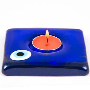 Traditional Handmade Amulet Candle Holder Evil Eye Protect Glass Home Decor Gift