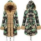 Womens Faux Fur Hoodie Parka Jacket Winter Warm Hooded Zipper Thick Coat Outwear