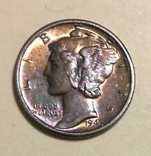 1943 D  SILVER Mercury Dime, UNC/BU, Great Toning on Both Sides