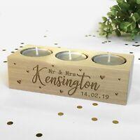 Personalised Tea Light Candle Holder Mr & Mrs Surname, Date, Wedding Anniversary