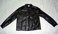 Mens Calvin Klein XL Black Faux Leather Dual Front Pocket Zip Snap Jacket