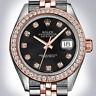 Rolex Mens Black 36mm Everrose Rose 18K Gold Diamond Dial Bezel Jubilee Datejust