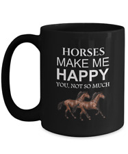 Horse Coffee Mug, Horses Make Me Happy, 15oz Black Ceramic Tea Cup
