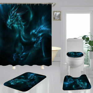 Oriental Blue Dragon Shower Curtain Bath Mat Toilet Cover Rug Bathroom Decor