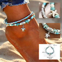 Boho Ankle Bracelet Silver Tone Women's Fashion Beaded Adjustable Beach Anklet