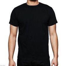Men's Plain 100% Cotton Casual Short Sleeve Rib Crew Neck T- Shirt Top