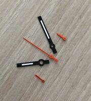 Schwarz/Orange Chronographen Zeigersatz Retro für ETA Valjoux 7733 NOS Style