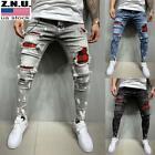 W/ Mens Ripped Distressed Skinny Denim Jeans Super Skinny Slim Fit Stretch Pants