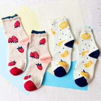 Fashion Orange Strawberry Fruit Socks Women Cotton Casual Socks Soft Warm Socks