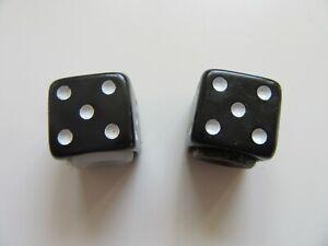 Pair of Dice Valve Caps Black Schraeder (2277)