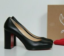 sz 9 / 39.5 Christian Louboutin Black Kabetts Block Heel Almond Toe Pump Shoes