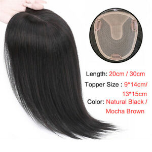 Seamless Natural 100% Remy Human Hair Topper Wig Clips in Hairpiece Cover Loss