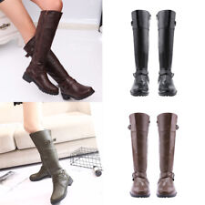 Women Knee High Lace Up Punk Shoes Buckle Military Outdoor Wear Combat Boots# US