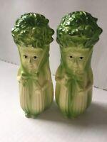 Vintage Salt And Pepper Shaker Set Celery People