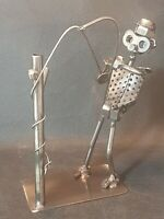 Nuts & Bolts Metal Fisherman Steam Punk -Robot Man Fishing Sculpture Re-purposed