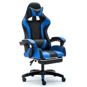 PC Gaming Chair Highback Swivel Ergonomic Leather Racing Office Adjust Blue New