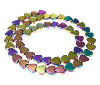 😏 Hämatit bunte Herzen 8 mm Perlen Strang für Kette, Armband & mehr 😉