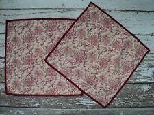 "POTTERY BARN Set of 2 Batika Red Cream Floral Pillow Covers Linen Blend 20"" EUC"