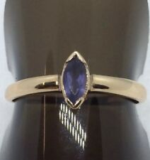 9ct Rose Gold Marquise Cut Iolite Ring Size O Full Edinburgh Hallmark