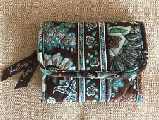 VERA BRADLEY Java Blue Tri Fold Wallet Credit Card Blue Brown Retired HTF EUC