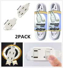 2 Prong 3-Outlet Extension Power Cord Strip 12FT Long Durable Electrical Cable