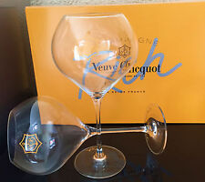 VEUVE CLICQUOT RICH  GLASS  CHAMPAGNE TASTING FLUTES  X 2 NEW MADE FROM GLASS