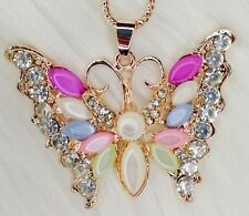 Butterfly Pendant Necklace Rose Gold Diamante Rhinestone Chain Girls Jewellery