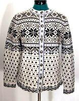 LL Bean Sweater Womens Small-Reg Nordic Style Lambs Wool Cardigan EUC