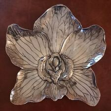 New ListingStunning Luxe Habitat Decorative Metal Orchid Plate Chrome Silver Polished Wow!