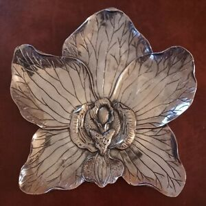 Stunning Luxe Habitat Decorative Metal Orchid Plate Chrome Silver Polished WOW!