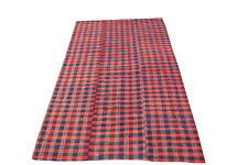 60412 Vintage Modern Red & Blue Plaid Striped Flatweave Textile Rug -5′8″ × 9′9″