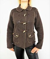 SAINT JAMES Depuis 1889 Women's Wool Blend Brown Jacket w/ Toggle Fasteners US8