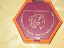 VINTAGE MCM HEXAGON JEWELRY/MAKEUP/TRINKET BOX WITH MIRROR-COLORFUL-PLASTIC-COOL