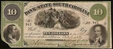 LARGE 1861 $10 CHARLESTON SOUTH CAROLINA BANK NOTE CURRENCY OLD PAPER MONEY