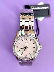 NEW Hamilton Jazzmaster Lady Women's Quartz Watch Diamond Bezel