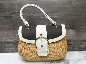 Scarce Coach Natural Straw Wicker White Black Handbag w Papers Summer Beach