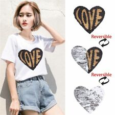 Love Heart Reversible Color Changing Sequins Sewing Clothes DIY Applique