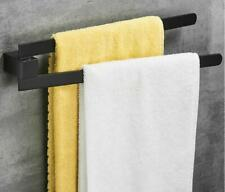 Black Wall-Mount Brass Swivel 2 Bars Bathroom Towel Rack Holder Square New