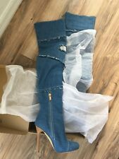 Sexy High Hells Over Knee Boots - Beautiful Fashion light blue Denim
