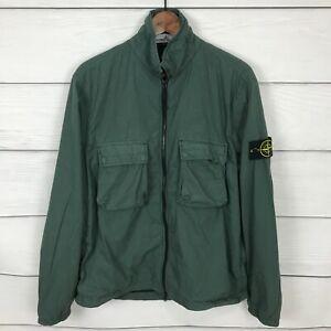 Stone Island Green Overshirt Jacket Size Large L Logo Patch Full Zip Casual