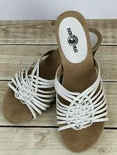 Duck Head Sandals Daphne Slides 9.5 White Wedge Faux Leather Weave