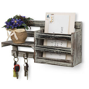 MyGift Torched Wood Entryway Organizer Mail Sorter Wall Rack with 3 Key Hooks