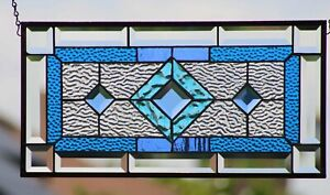 """Beveled Stained Glass Window Panel,  ≈ 20 .5x10.5"""" At SEA-Ready to Hang"""