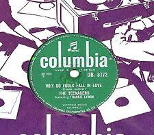 UK#1 1956  FRANKIE LYMON 78  WHY DO FOOLS FALL IN LOVE  UK COLUMBIA DB 3772 V/V+